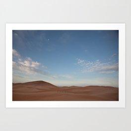 Desert Oasis - Sunrise with Moon over the Sahara, Morocco Art Print