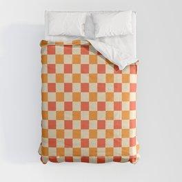 Orange Crossings - Classic Gingham Checker Print Comforters