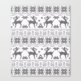 Christmas black and white, the embroidered pattern. Canvas Print