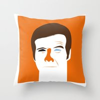 quibe Throw Pillows featuring Steve Austin, the six millions dollars man by quibe