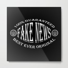 Fake News badge (white on black) Metal Print