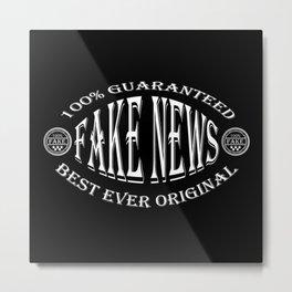 Fake News badge (white on black) Metal Print