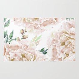 Pretty Blush Pink Roses Flower Garden Rug