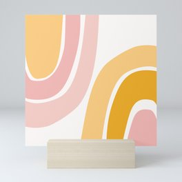 Abstract Shapes 37 in Mustard Yellow and Pale Pink Mini Art Print