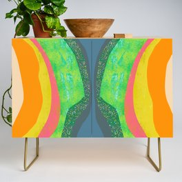 Shapes and Layers no.25 - Abstract painting Blue, Green, pink, yellow orange Credenza