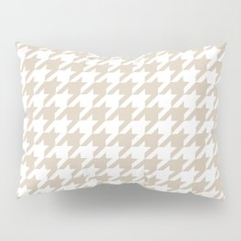 Houndstooth: Beige & White Checkered Design Pillow Sham