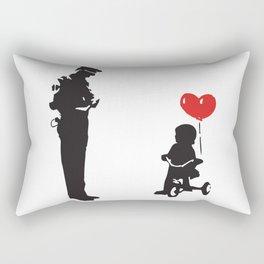 Banksy Policeman & girl on bike, Streetart Street Art, Grafitti, Artwork, Design For Men, Women, Kid Rectangular Pillow