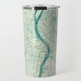 Budapest Map Blue Vintage Travel Mug
