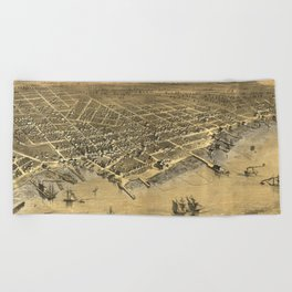 Vintage Pictorial Map of Muskegon Michigan (1868) Beach Towel