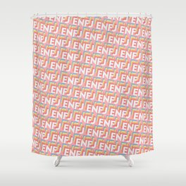 ENFJ Trendy Rainbow Text Pattern (Pink) Shower Curtain