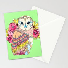 Barn Owl & Flowers Stationery Cards