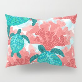 Sea Turtles in The Coral - Ocean Beach Marine Pillow Sham