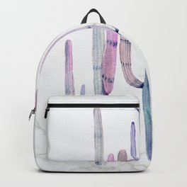 Cactus Trio Marble Blue Watercolor by Nature Magick Backpack