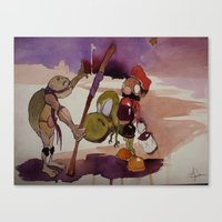 ninja turtle Canvas Prints featuring ninja turtle and mario by joseph Leonard