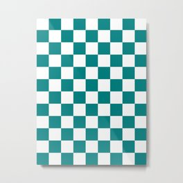 Checkered - White and Dark Cyan Metal Print