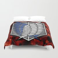 shingeki no kyojin Duvet Covers featuring shield of shingeki  by Blaze-chan