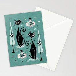 Mid Century Meow Atomic Kitty Christmas ©studioxtine Stationery Cards