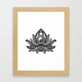Yin Yang Lotus - Black Framed Art Print