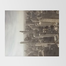 Chicago Buildings Sears Tower Sky Sun Color Photo Throw Blanket