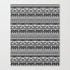 Ethnic stripes in black and white Canvas Print