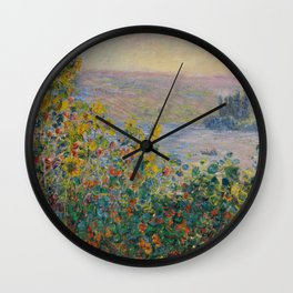 Flower Beds at Vétheuil Wall Clock