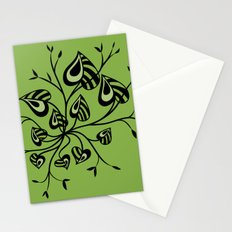 Abstract Floral With Pointy Leaves In Black And Greenery Stationery Cards