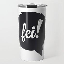 FEI blk/wht Travel Mug