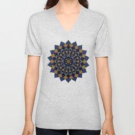 Blue & Bronze Floral Mandala Unisex V-Neck