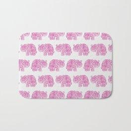Pink Indian Woodblock Elephants Bath Mat