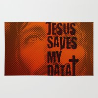 data Area & Throw Rugs featuring Jesus saves my data by Lulla