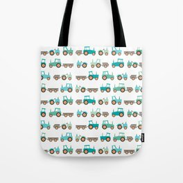 Tractors on white Tote Bag