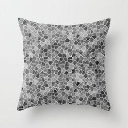 The Paths Taken Black and White Cobblestone Pattern Throw Pillow