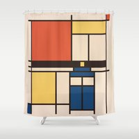 mondrian Shower Curtains featuring Mondrian Who by Perdita