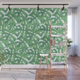 Green monstera tropical leaves pattern  on white background Wall Mural