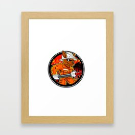 kangaroo firefighter extinguishes fire in forest Framed Art Print