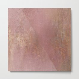 Rust and Pink Watercolor Abstract II Metal Print