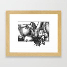 mature/BDSM/shibari/oralsex/blowjob/porn/pornart/eroticart/penandink Framed Art Print