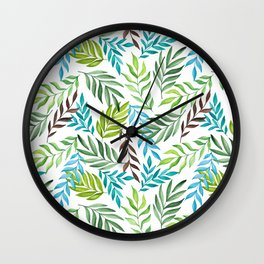 Leaf pattern. Watercolor art Wall Clock