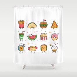 Food Doodle Shower Curtain