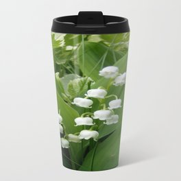 Pure White Lily of the Valley Flower Macro Photograph Travel Mug