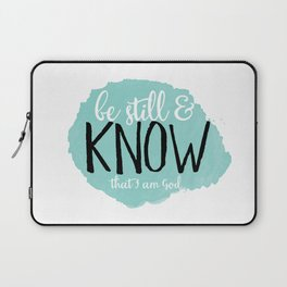 Be Still and Know that I am God, blue polka dots Laptop Sleeve