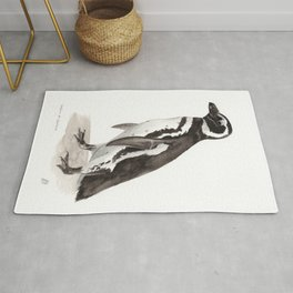 Penguin Watercolor Painting Rug