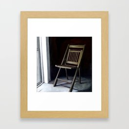 Empty Folding Chair Next to Window Framed Art Print