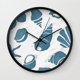 Azure South pacific sea shells - white marble Wall Clock