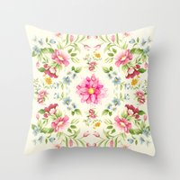folk Throw Pillows featuring folk floral by clemm