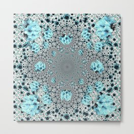 Abstracted Optical Aqua Green Art Pattern Metal Print