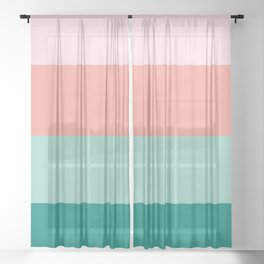 Soft Pink  Peach Amber Yucca and Arbor Green Horizontal Stripes Sheer Curtain