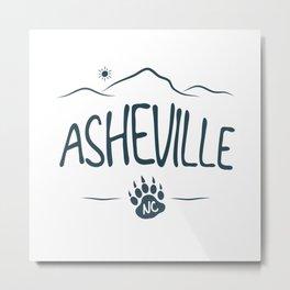 Asheville, NC - Black Bear Paw - AVL 14 Dark Blue Metal Print