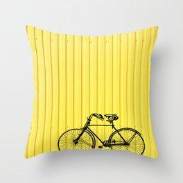 Vintage bike on yellow Throw Pillow