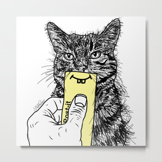 Cat Emoji - P0st it with a smile Metal Print